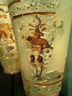 Roman glass with a painted figure of gladiator. It was actually found at Bagram in Afghanistan.