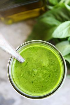 Basil Vinaigrette Recipe on twopeasandtheirpo. This easy basil vinaigrette is great as a salad dressing or sauce for chicken, fish, vegetables, or pasta. It is the BEST! Best Dressing Recipe, Homemade Dressing, Salad Dressing Recipes, Salad Recipes, Basil Vinaigrette Recipe, Vinaigrette Dressing, Herb Salad, Vegetable Salad, Fish Recipes