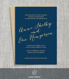 Gold and Navy Wedding Invitation DIY // Gold by JadeForestDesign
