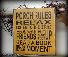 Wooden Sign / Porch Rules Sign / Wall decor for the by Woodticks, $25.95
