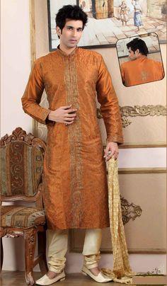 Rust Art Dupion Men's Kurta Pajama