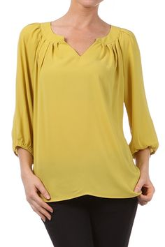Pleated Pullover Blouse in Mustard