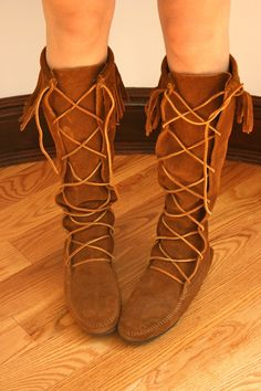 Boho boots. I have these lace-up Minnetonka boots, need to find more outfits I can wear them with.