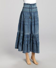Another great find on #zulily! Blue Shirred Denim Maxi Skirt by Miss Maxi #zulilyfinds