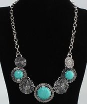 """Turquoise Necklace  $17.00  Pendant Size (0.78 x 1.37)"""" / (2 x 3.5) cm (D x H) Necklace Length 7.08"""" / 18.0 cm"""