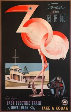 Vintage zoo poster w. pink flamingo