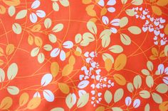 Simply Color Moda Fabric V and Co Orange Yellow Cotton Craft Quilt Leaves and Flowers Pattern Gorgeous Color Combination 1/2 Metre by TwoChubbyRabbits on Etsy