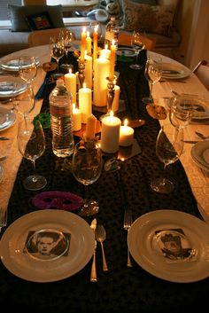 Place settings with a character representing each guest. would also work for a murder mystery party dark styled!