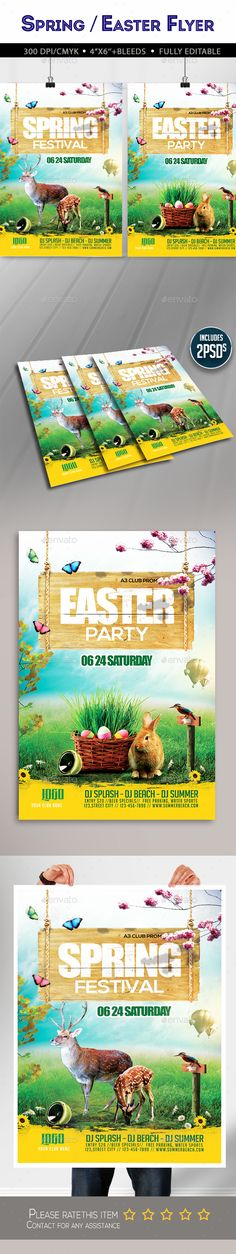 Spring / Easter Flyer — Photoshop PSD #Easter Egg Hunt Flyer #psd • Available here → https://graphicriver.net/item/spring-easter-flyer/19528331?ref=pxcr