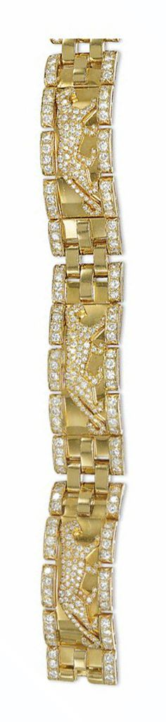 A DIAMOND-SET 'PANTHERE' BRACELET, BY CARTIER  Composed of three rectangular shaped curved panels each set with a pavé-set diamond stalking panther motif, to diamond borders and brick-link connections, with a concealed clasp, French marks for gold, 17.9cm long Signed Cartier, no.HPSM33 634032