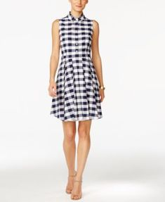 Nine West Gingham-Print Fit & Flare Shirtdress - Dresses - Women - Macy's