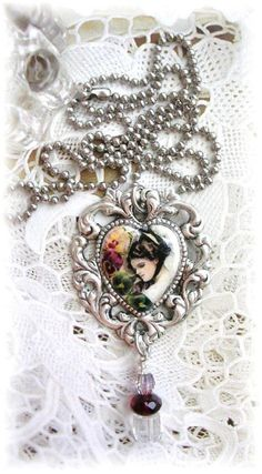 Victorian Girl Pendant Necklace Pansies Flowers Heart Decoupage Collage Glass Beads