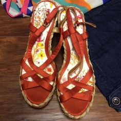 SZ 10GUESS MARCIANO WEDGE HEELS These are super hot for summer with a burnt or and satin fabric and woven wedge heel.. Like new Guess by Marciano Shoes Heels