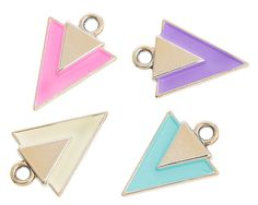 """5.99 USD Pretty Geometric Charms.  Light Gold, Enamel, Triangle Charms add color to your jewelry, purse charms, key chains and more with these gold tone, enamel charm.Packs of 10 CharmsHole size:  1/8""""  (2 mm)Thickness:  1/8""""  (2.2 mm)Approx.:  6/8"""" x 4/8""""  (19 mm x 14 mm)   #charms #etsyshop #jewelrysupplies"""
