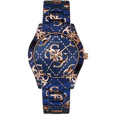 GUESS Blue and Rose Gold-Tone Icons All-Around Sport Watch