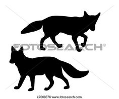Clip Art of The black silhouettes of two foxes on white k7008376 - Search Clipart, Illustration Posters, Drawings, and EPS Vector Graphics Images - k7008376.eps