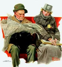 Rockwell, Norman (b,1894)- Man Reading; Woman Unhappy- 'Leslie's'- Jan. 1917