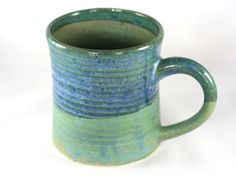 Large stoneware pottery mug, green and blue glaze (12 oz) by CenteredVessel on Etsy