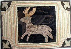 Antique Hooked Rug of a Deer Circa Late 1800's to 1920's