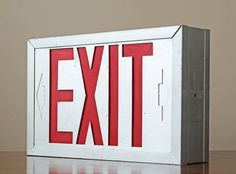 Vintage Industrial Exit Sign // Vintage Theater Decor // Man Cave Decor via Etsy