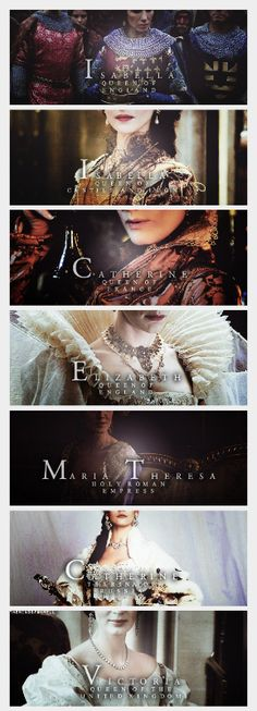 My List of Epic Queens  (part 3/3) Isabella of France/ Isabella of Castile/ Catherine de Medicis/ Elizabeth I/ Maria Theresa/ Catherine the Great/ Victoria