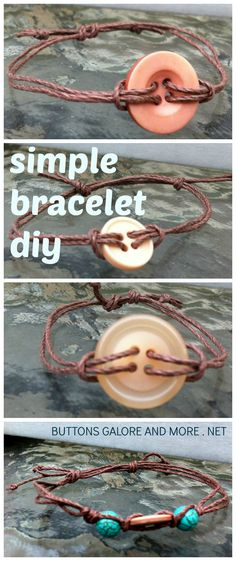 Simple Button and Hemp Bracelets from Designer Allie Gower - button jewelry every Thursday at ButtonsGaloreandMore.net.