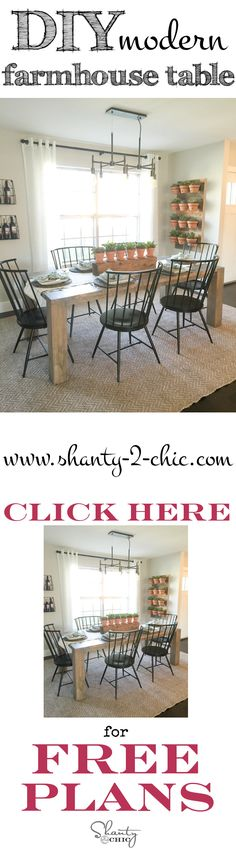 Build this beautiful modern farmhouse table, as seen on HGTV's Open Concept, with just 5 tools! Free plans and tutorial at www.shanty-2-chic.com