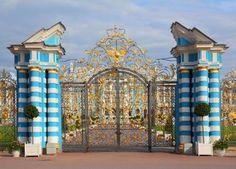 gate of catherine palace in Tsarskoye Selo Saint Petersburg Russia Stock Photo