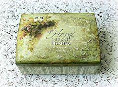 Decoupage wooden box jewelry box vintage style box gift