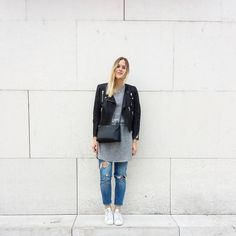 tifmys - H&M leather jacket and dress, Céline trio bag, Zara ripped denim & Adidas Stan Smith sneakers.