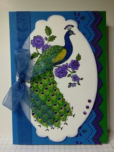 Peacock card for my daughter's birthday using Stampin Up's Perfect Peacock stamp set.  Happy Birthday my baby!