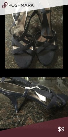 Black strappy sandals Black strap sandals with 2 inch heel Predictions Shoes Sandals