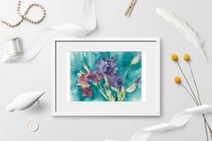 Irises bouquet on turquoise background Watercolor painting   Etsy Iris Bouquet, Turquoise Background, Gift Of Time, Purple Iris, Irises, Watercolor Background, Printable Wall Art, Floral Arrangements, Watercolor Paintings