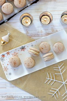 gingerbread macarons with eggnog buttercream...OMG... my mom and I are trying these THIS WEEK for sure!!! Can't wait ;-)