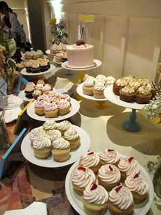 I like the idea of a cupcake table with individual cake stands. Wedding Cupcake Table, Wedding Cakes With Cupcakes, Wedding Cookies, Cookie Display, Cupcake Display, Cookie Table, To Infinity And Beyond, Love Cake, Dessert Table
