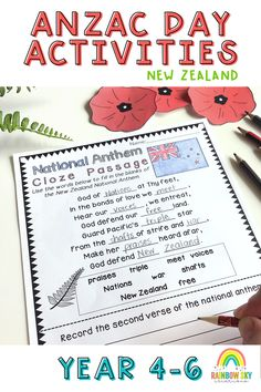 ANZAC Day Pack for New Zealand educators. Within this pack is 15 learning activities that can be used as a sequenced series of lessons or as individual tasks for Year 4 to 6. Most importantly, it has been created to teach students about the importance of ANZAC Day in New Zealand. Learning Activities, Teaching Resources, Teaching Ideas, Packing For New Zealand, Rainbow Sky, Anzac Day, Australian Curriculum, Remembrance Day, New Words