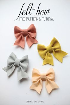 Make large felt bows for pillows or valance ends for girls room.felt bow free pattern and tutorial Fabric Crafts, Sewing Crafts, Sewing Projects, Diy Crafts, Felt Projects, Craft Projects, Diy Hair Bows, Diy Bow, Handmade Hair Bows