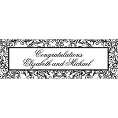"Personalized Black & White Wedding Banner - Medium - OrientalTrading.com - 72"" x 23""  $26"