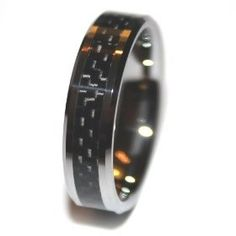 6mm Tungsten Black Carbon Fiber Mens Wedding Rings Engagement Bands (Available in Whole & Half Sizes 4-16) (8.5)mens wedding rings