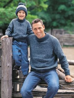 Free Pattern - Make one for everyone in the family! Sizes child 4 to adult XL (23-46 in/58.5 to 117 cm chest). #knit #sweater