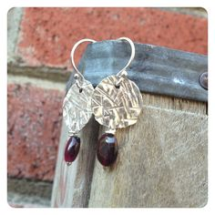 Crosshatch Textured Silver and Garnet Dangle Earrings by jenjems, $30.00