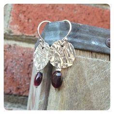 Crosshatch Textured Silver and Garnet Dangle Earrings by jenjems, $30.00