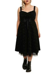 All clothing items — including this pretty flocked dress — come in regular and plus sizes.