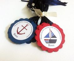 """These adorable Nautical Favor Tags are perfect for any Nautical Birthday Party. They are personalized with your child's name and age. The text on the top says: Thank you for coming to my """"age"""" birthday party. Your child's name then is on the bottom of the image. Many Nautical themed images are included in this set of 12 gift favor tags. You will get images of sailor, light house, sailboats, life preserver, anchor, captain's wheel, and compass."""