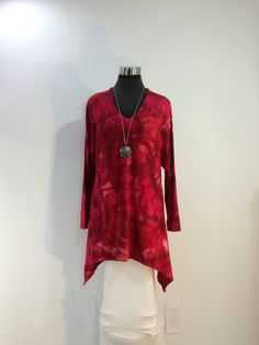 Plus size 1X tie dye tunic top with V-neck and long sleeves in bamboo blend fabric. by qualicumclothworks on Etsy