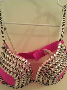 Rhinestone Rave Bra Pink Zebra 36c ready to by Smokinghotdivas, $45.00