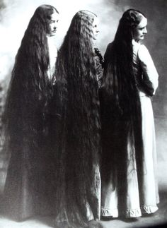 Three Women by Belle Johnson, 1900. (hair, long hair)