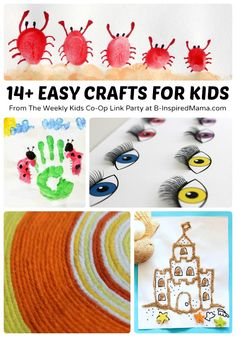 14+ Easy Crafts for Kids + The Weekly Kids Co-Op Link Party at B-InspiredMama.com #kids #kidscrafts #kbn
