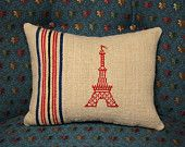 Antique French Grain Sack and Linen Lavender Pillow with Eiffel Tower Cross Stitch