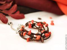 Купить Яркий многорядный браслет из натуральных камней Азиза - подарок женщине девушке, стильные украшения